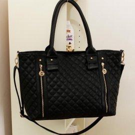 Damska Torebka Shopper Bag A4 pikowana czarna