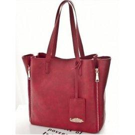 Damska Torebka Trapez A4 Shopper Bag + Organizer Czerwona