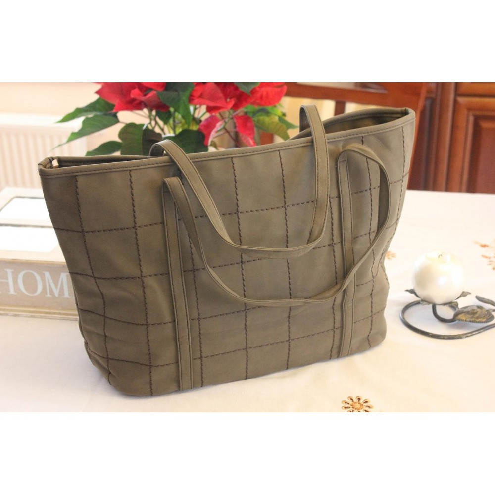 Duża Torebka Damska Shopper Bag Oliwkowa 210