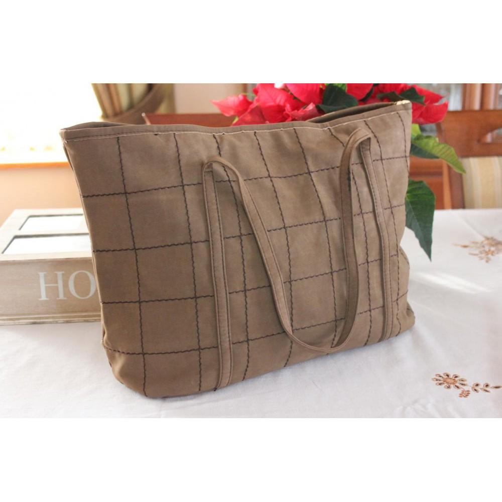 Duża Torebka Damska Shopper Bag Kawowa 210