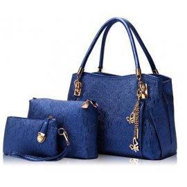 Damska torebka Shopper Bag + torebka+organizer niebieska 158