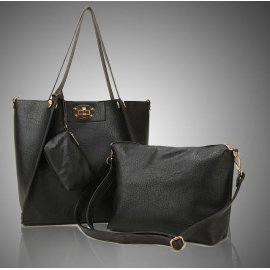 3w1 Torebka A4 Shopper Bag + organizer CZARNA