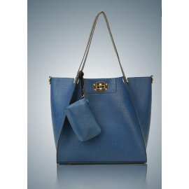 3w1 Torebka A4 Shopper Bag + organizer NIEBIESKA
