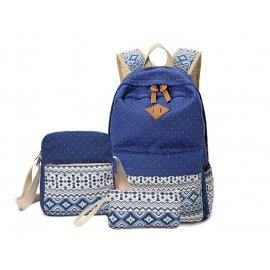 3w1 Damski Plecak A4 + Listonoszka + saszetka Niebieski
