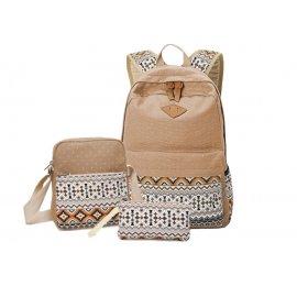 3w1 Damski Plecak A4 + Listonoszka + saszetka Camel