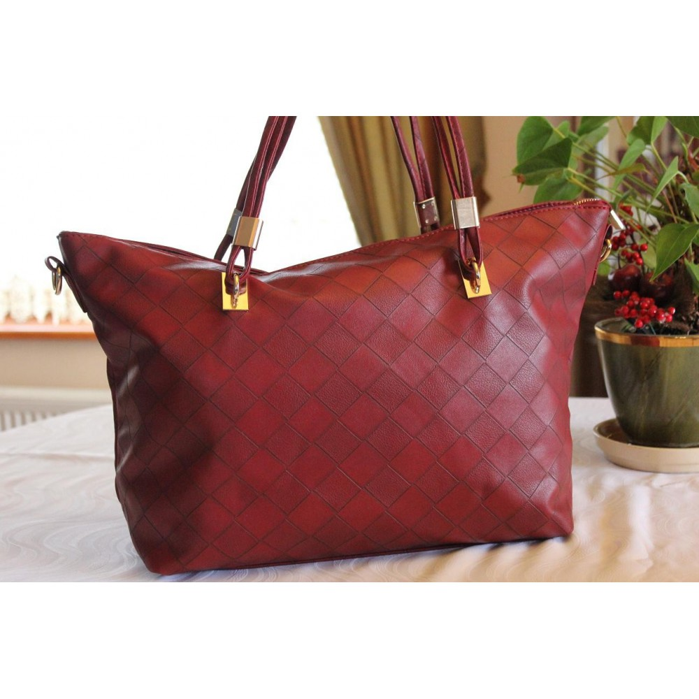 Damska Torebka Shopper Bag A4 Trapez Czerwona 014