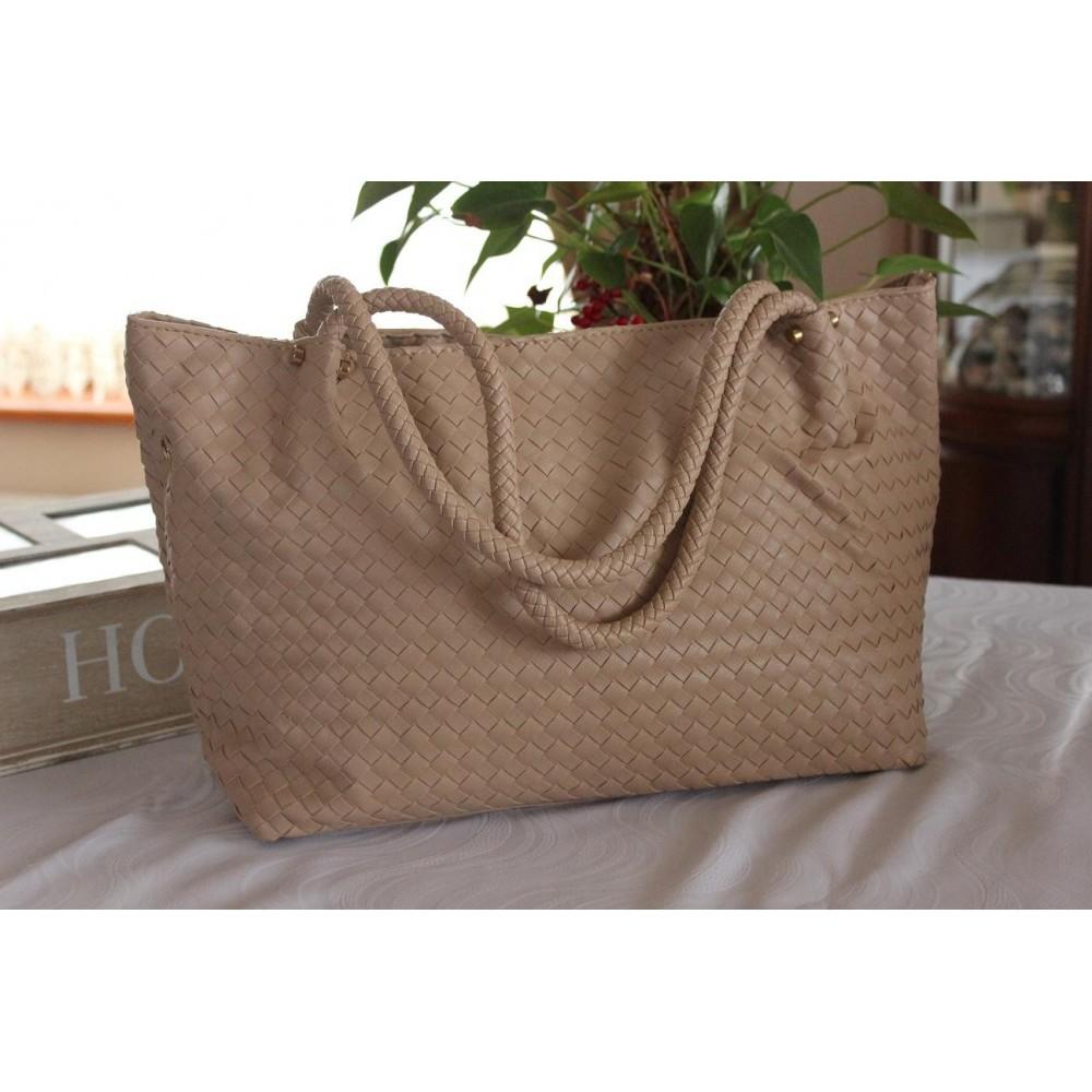 Damska Torebka Shopper Bag A4 Worek Beżowa 350