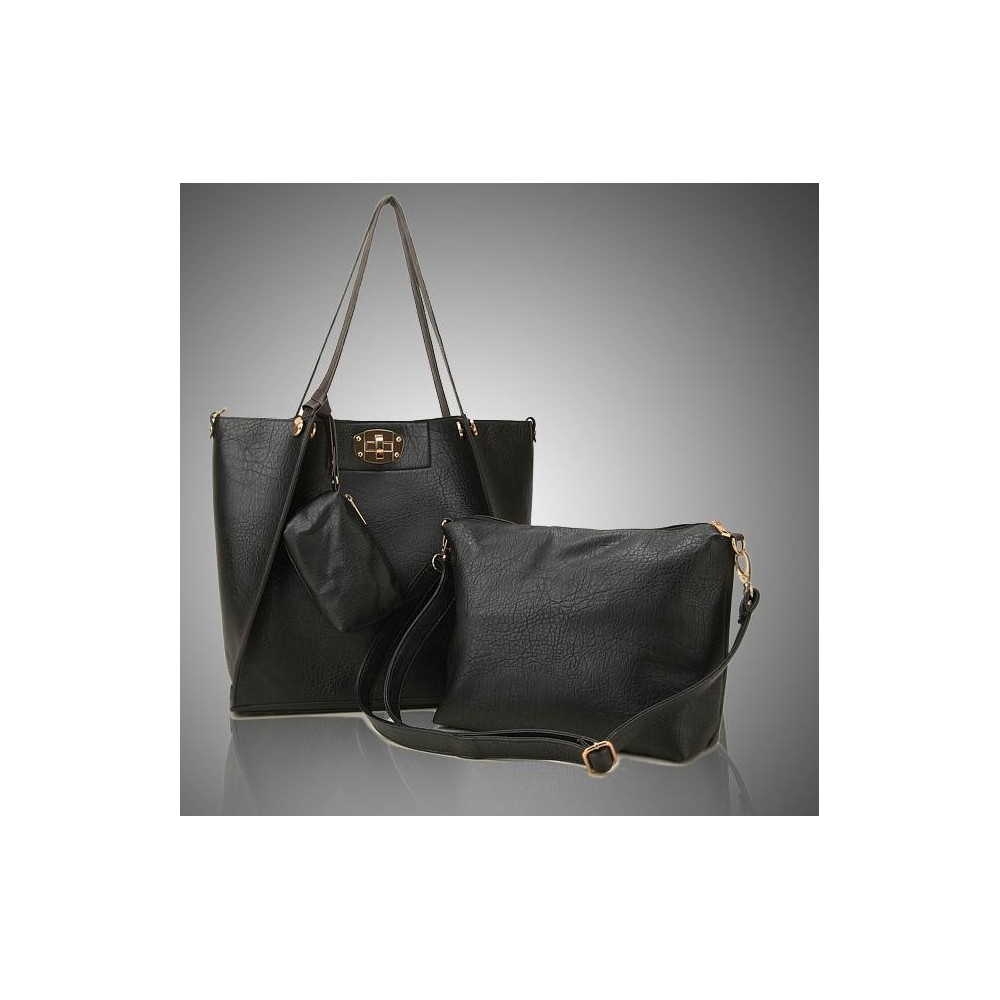 Damska Torebka Shopper Bag Czarna A4 306