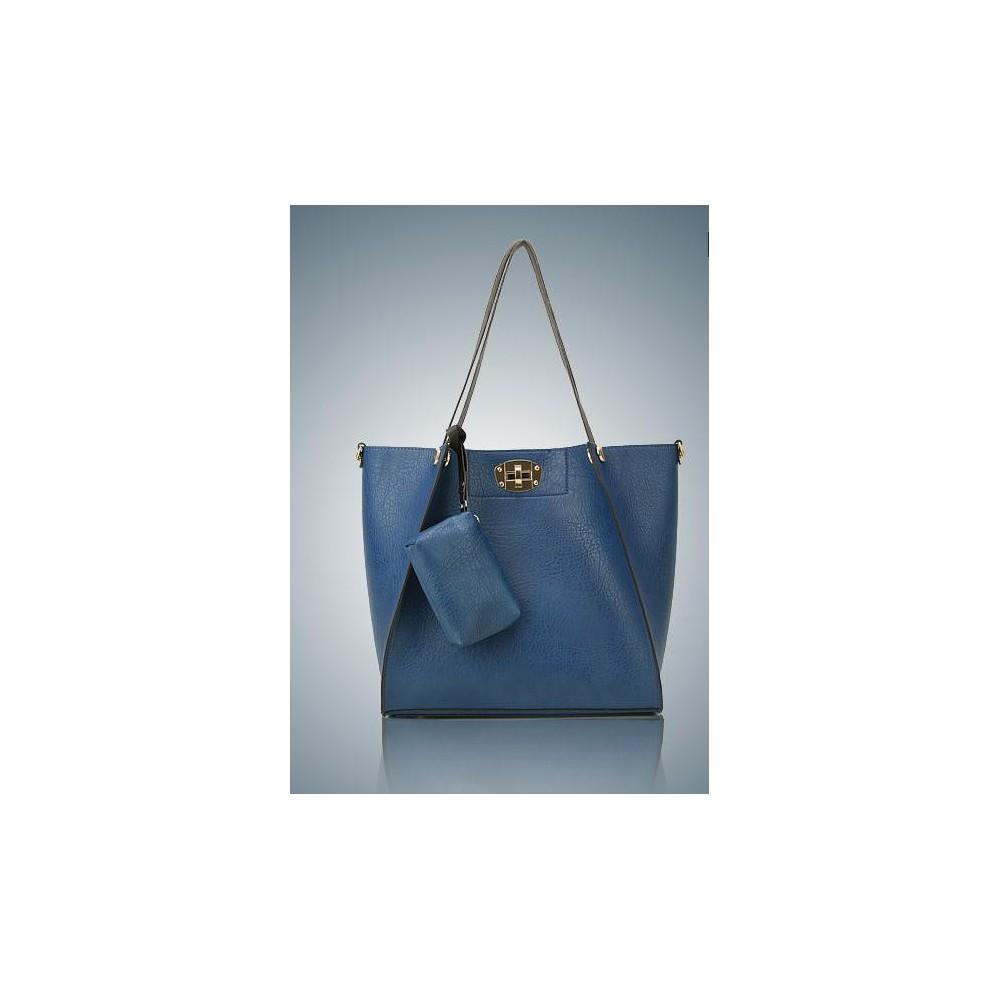 Damska Torebka Shopper Bag Niebieska A4 306