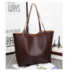 2w1 Damska Torebka Shopper Bag A4 Worek Brązowa
