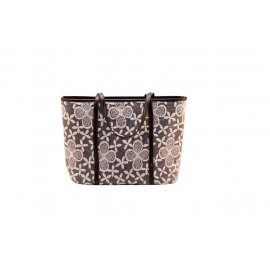 Damska Torebka Shopper Bag A4 Czarna WZÓR kwiaty