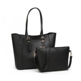 2w1 Torebka Shopper Bag A4 + Listonoszka CZARNA