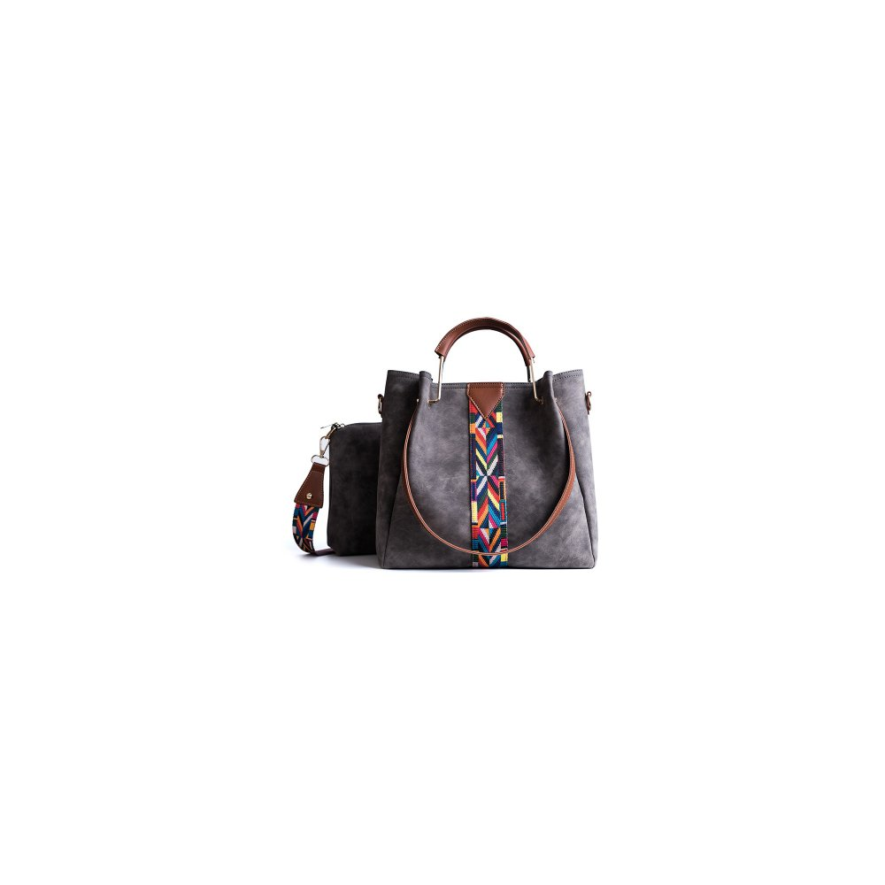 2w1 Torebka Shopper Bag A4 + Listonoszka SZARA