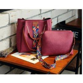 2w1 Torebka Shopper Bag A4 + Listonoszka CZERWONA