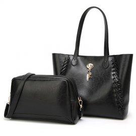 2w1 Damska Torebka Kuferek Shopper Bag A4 CZARNA