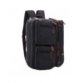 3w1 Wielofunkcyjny Plecak Torba Do ręki na ramię płótno + skóra naturalna CZARNA