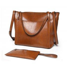 Torebka Kuferek Shopper Bag + saszetka Brązowa