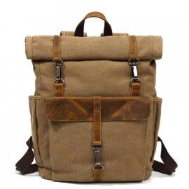 Plecak Turystyczny Zwijany Vintage A4 płótno + skóra naturalna KHAKI