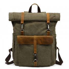 Plecak Turystyczny Zwijany Vintage A4 płótno + skóra naturalna ZIELONY